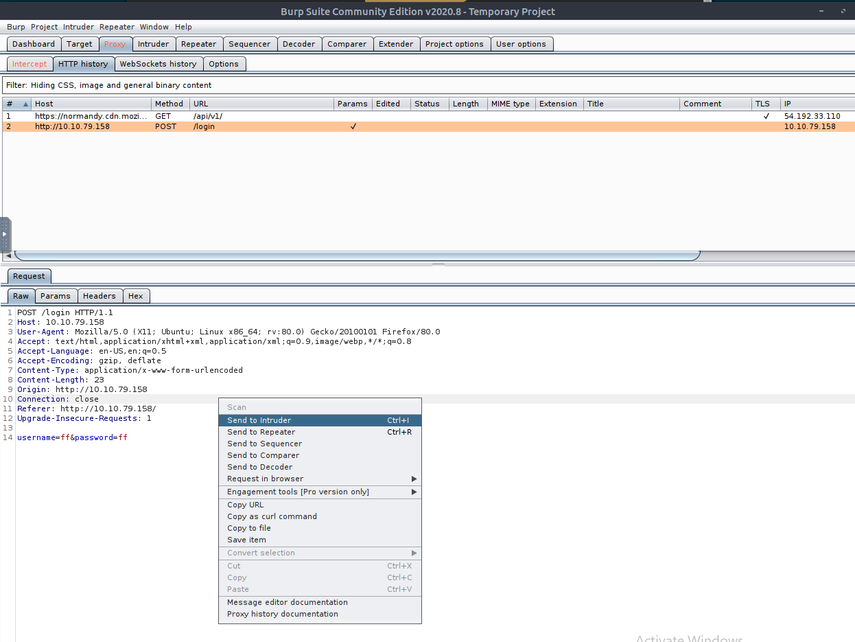 Proxy tab in Burp Suite showing raw request and right-click menu
