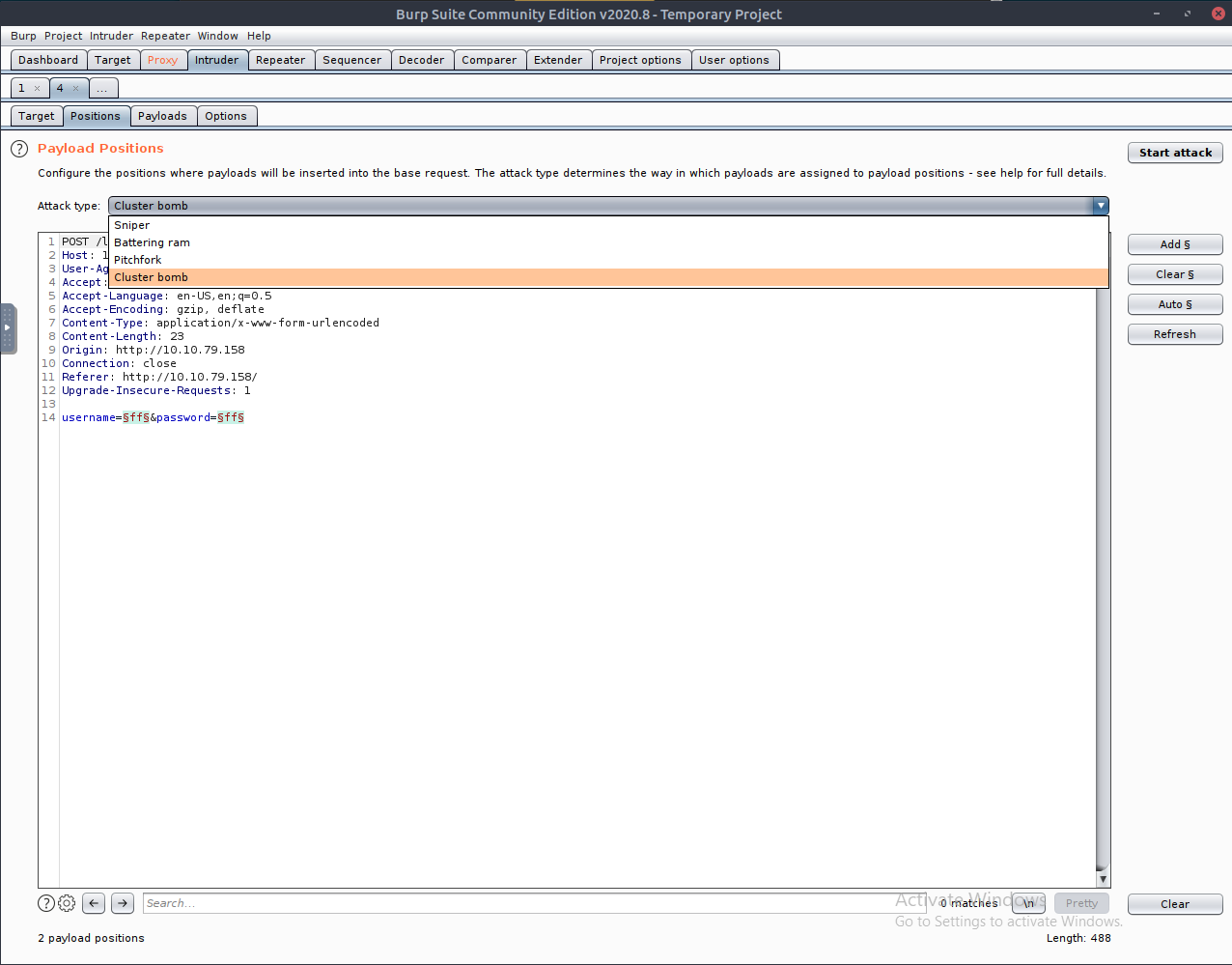 Intruder tab with payload request, highlighting Cluster bomb option in Attack type dropdown
