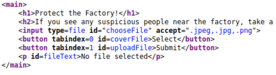 Snippet of site code showing accepted file formats